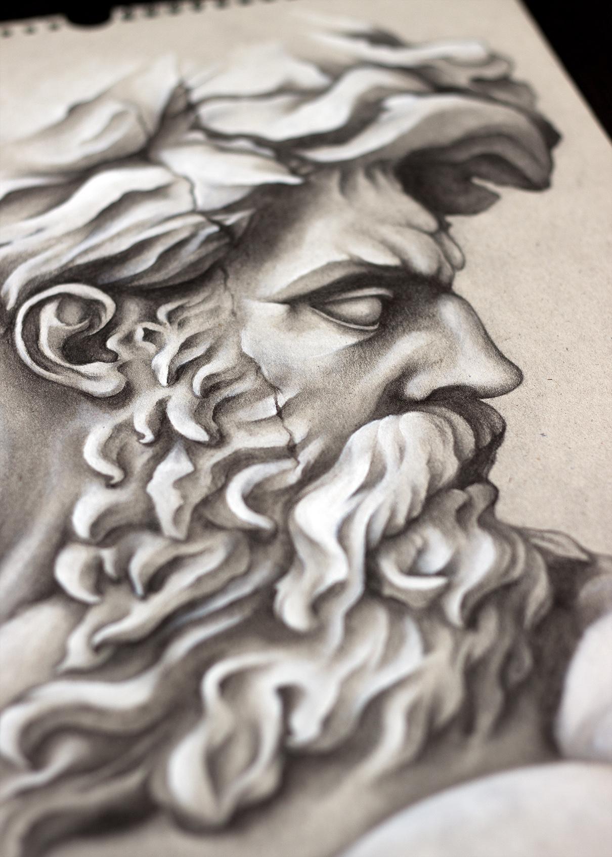 Drawn profile greek face The I shading illustrations love