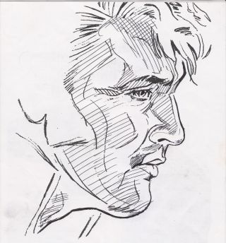Drawn profile greek face Elvis is I because a