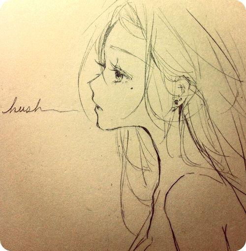 Drawn profile hair Anime hair piercings ART piercings