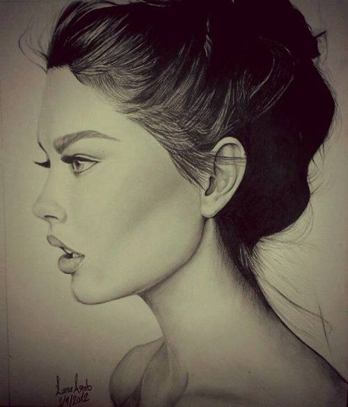 Drawn profile closed eye The sketch excellent hairline sketch