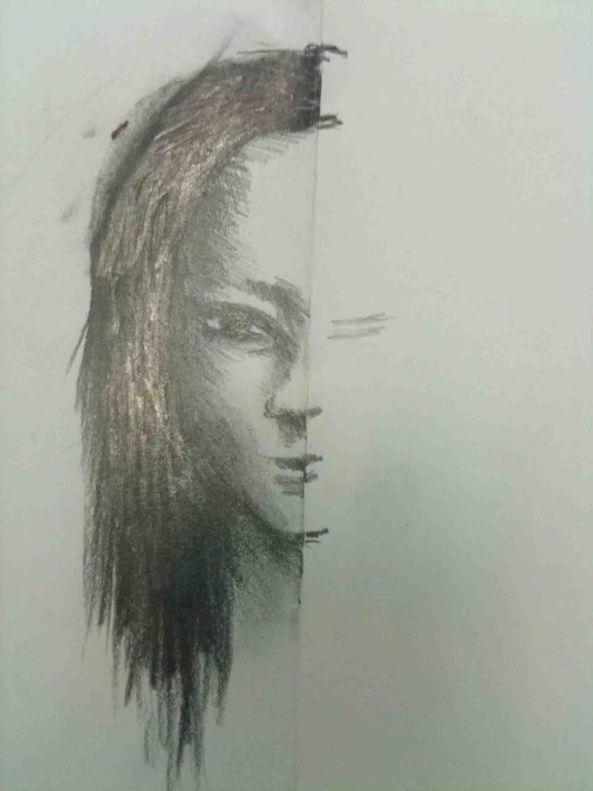 Drawn profile half face Fold TO right and of