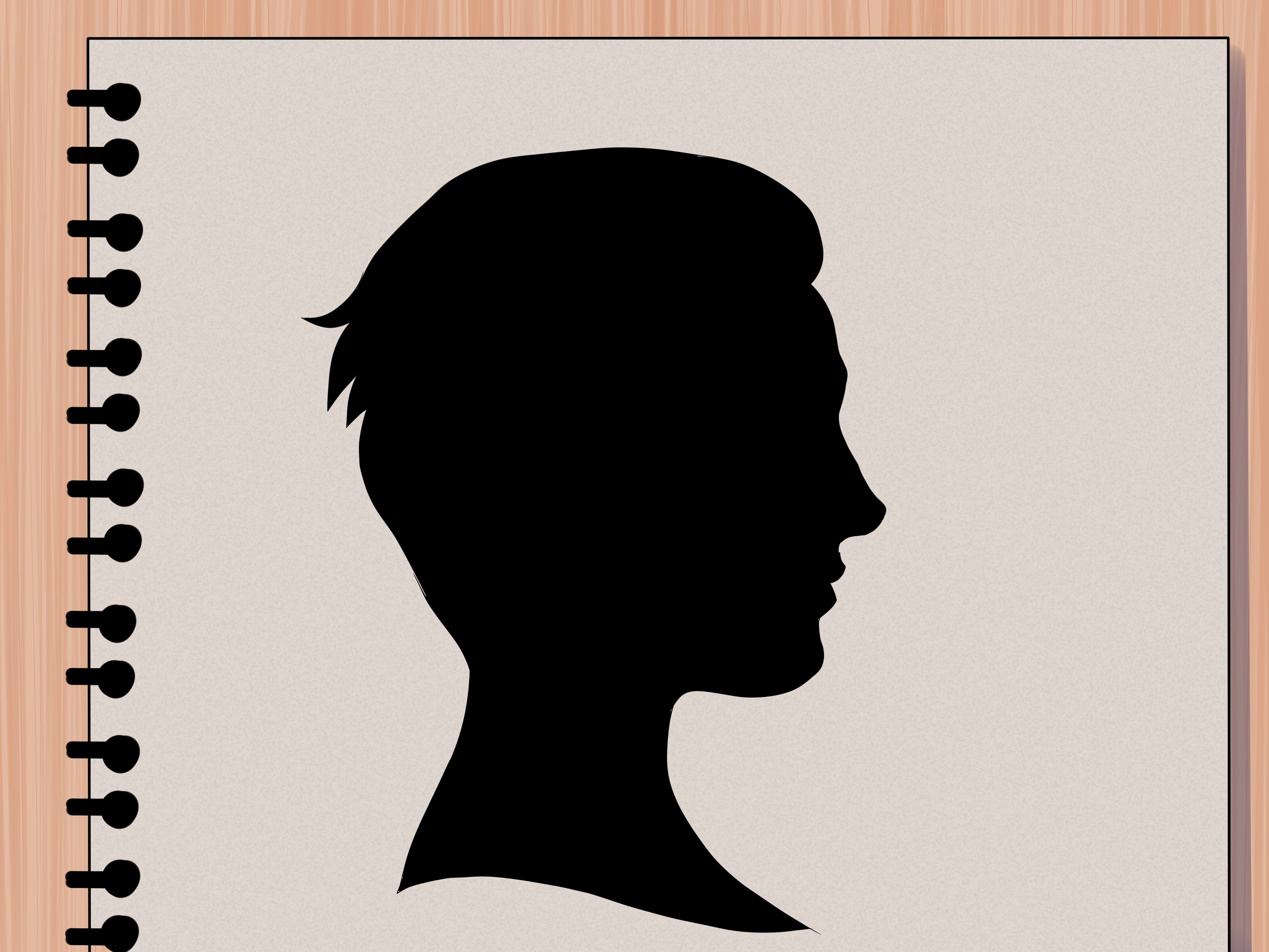 Drawn profile half face Silhouette: wikiHow a Steps