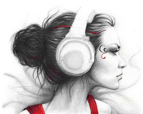 Drawn profile headphone Drawing Girl Girl Girl Saloon