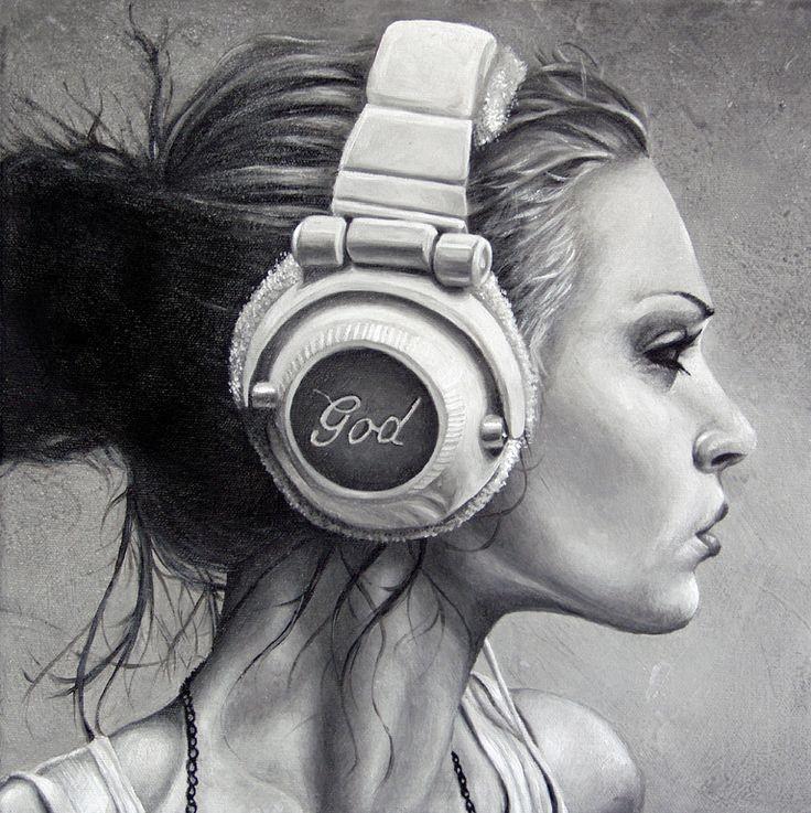 Drawn profile headphone On on Pinterest girl drawing