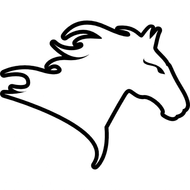 Drawn profile horse head Facing head Free Free outline