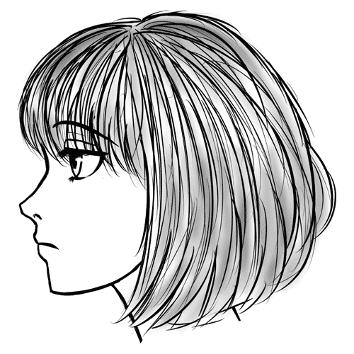 Drawn profile lady side face In  of to Manga