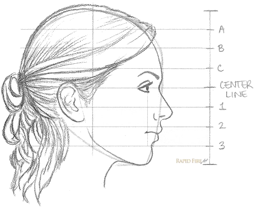 Drawn profile lady side face View How from Draw How