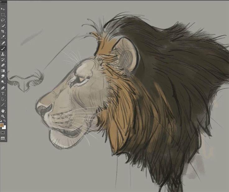 Drawn profile lion Best Pinterest drawing male lion