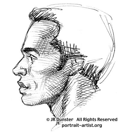Drawn profile male face Tutorial portrait the lesson Male