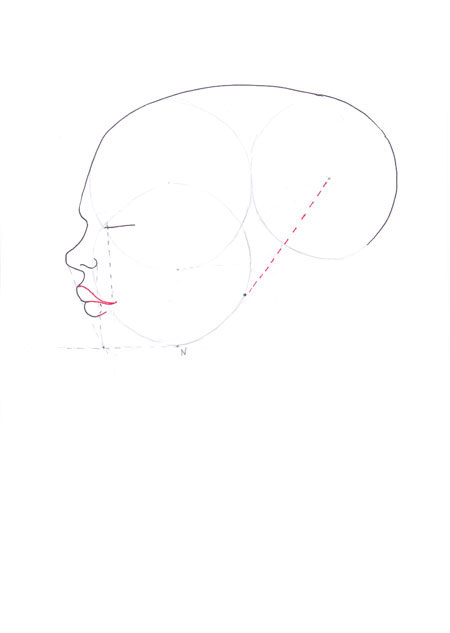 Drawn profile mouth Tutorial to fashion step face