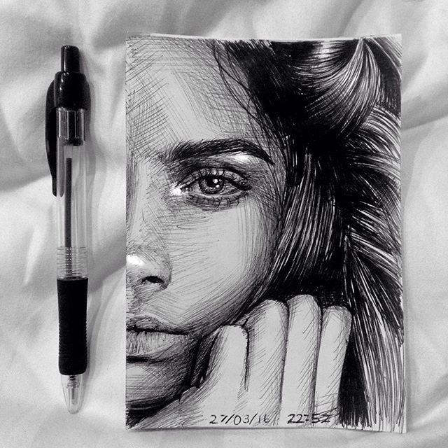 Drawn profile pen Portrait pen @caradelevingne Ballpoint pen