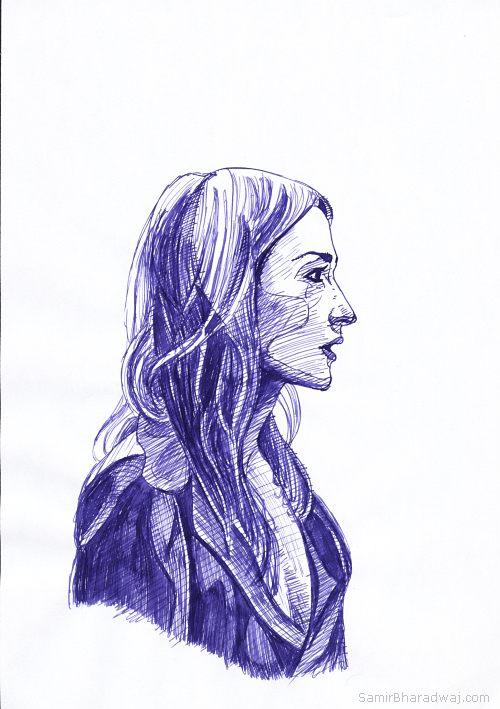 Drawn profile pen Pen wearing Blonde woman in