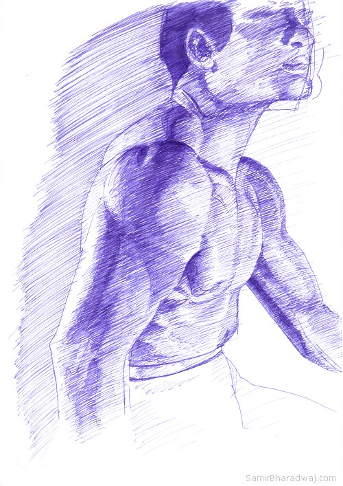 Drawn profile pen Pen in Strongman's torso Pen