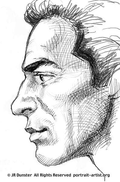 Drawn profile portrait drawing 107 on more to mouth