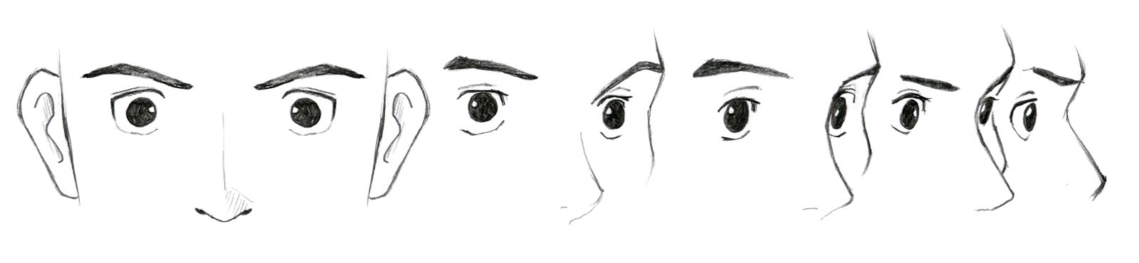 Drawn profile side angle Shifts the eyes above) As