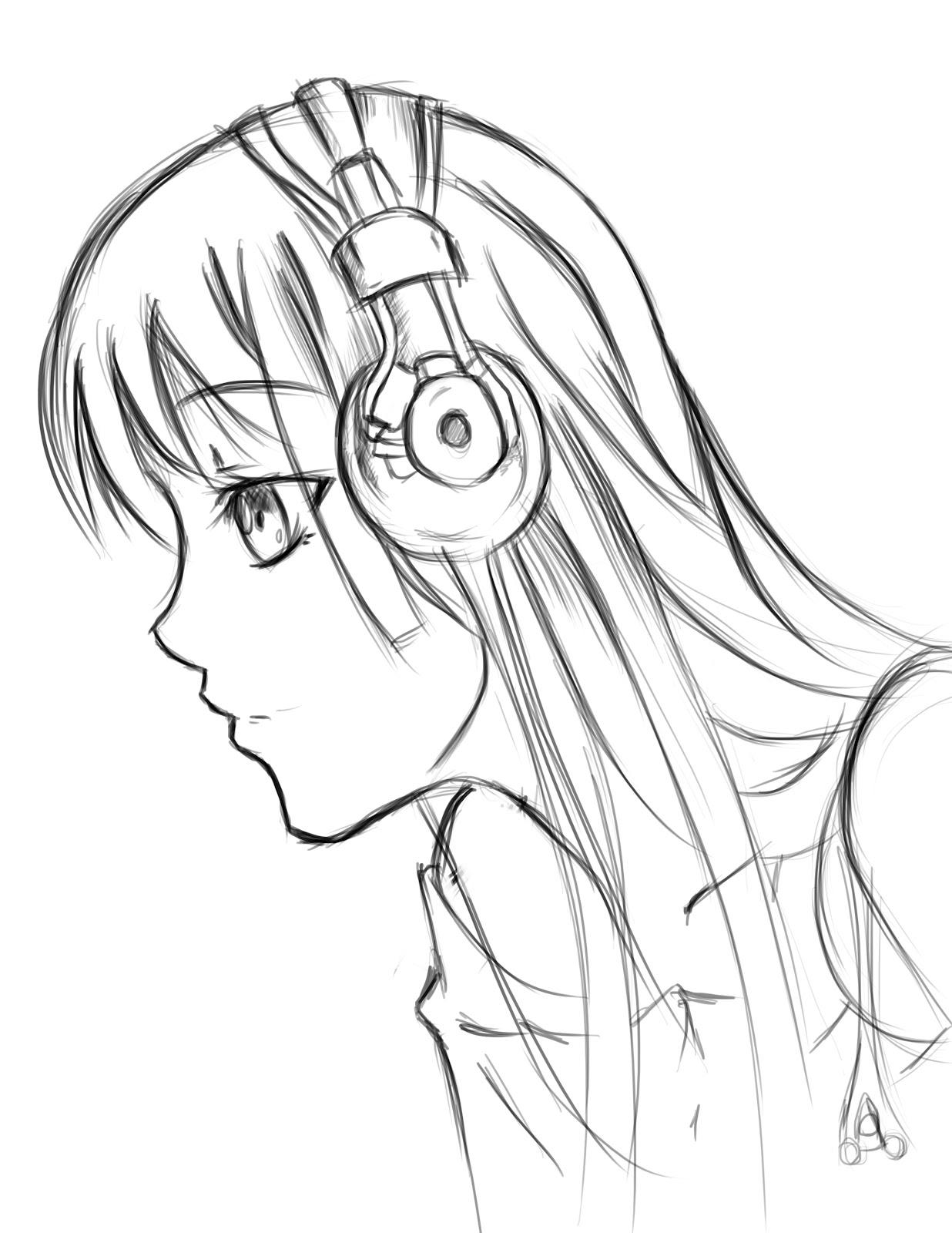 Drawn profile side view Cartoon Cartoon Anime Side Face