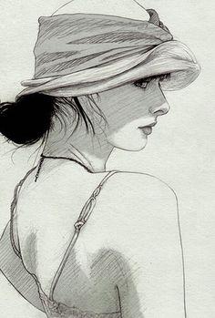 Drawn profile sketch Beautiful female profile beautiful pencil
