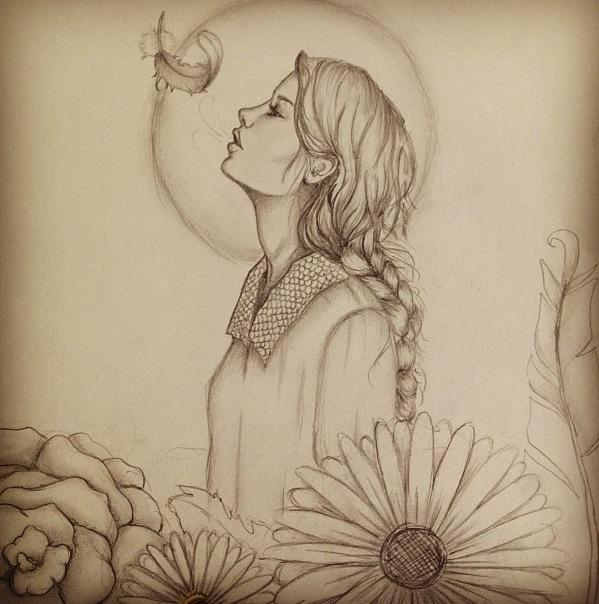 Drawn profile sketch Drawing Girl Artwork Drawings drawing