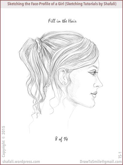 Drawn profile woman's Locks Expressions Draw tutorials
