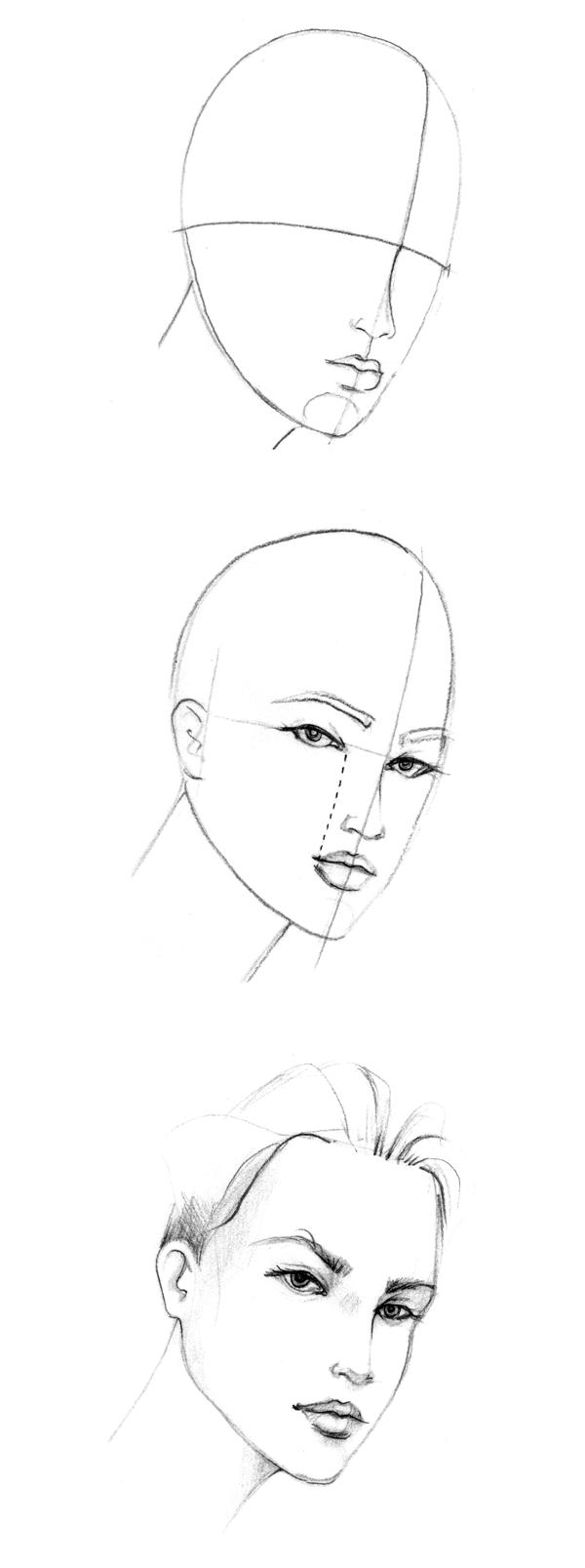 Drawn profile woman's THE 34View_Face2 DRAW SCHOOL QUARTER
