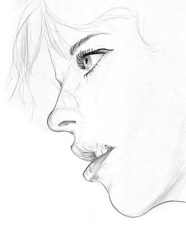 Drawn profile woman's Profile  of face and