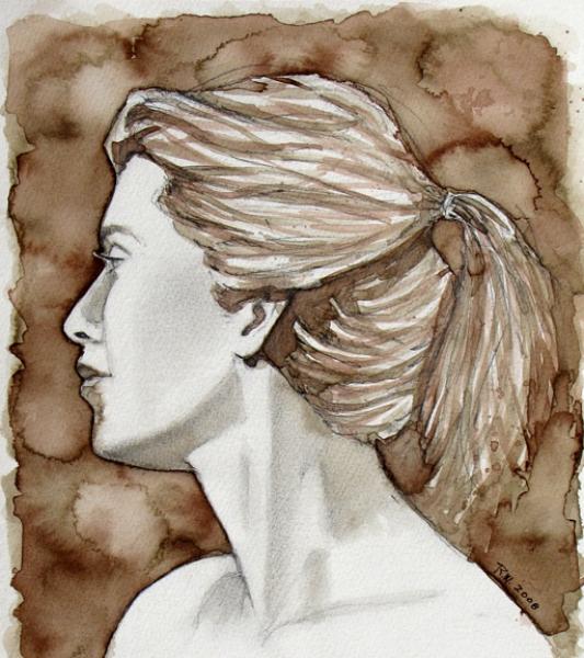 Drawn profile woman's Fine Artwork found field the