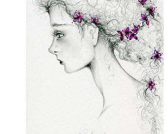 Drawn profile women's profile Coffee of Art Painting Drawing