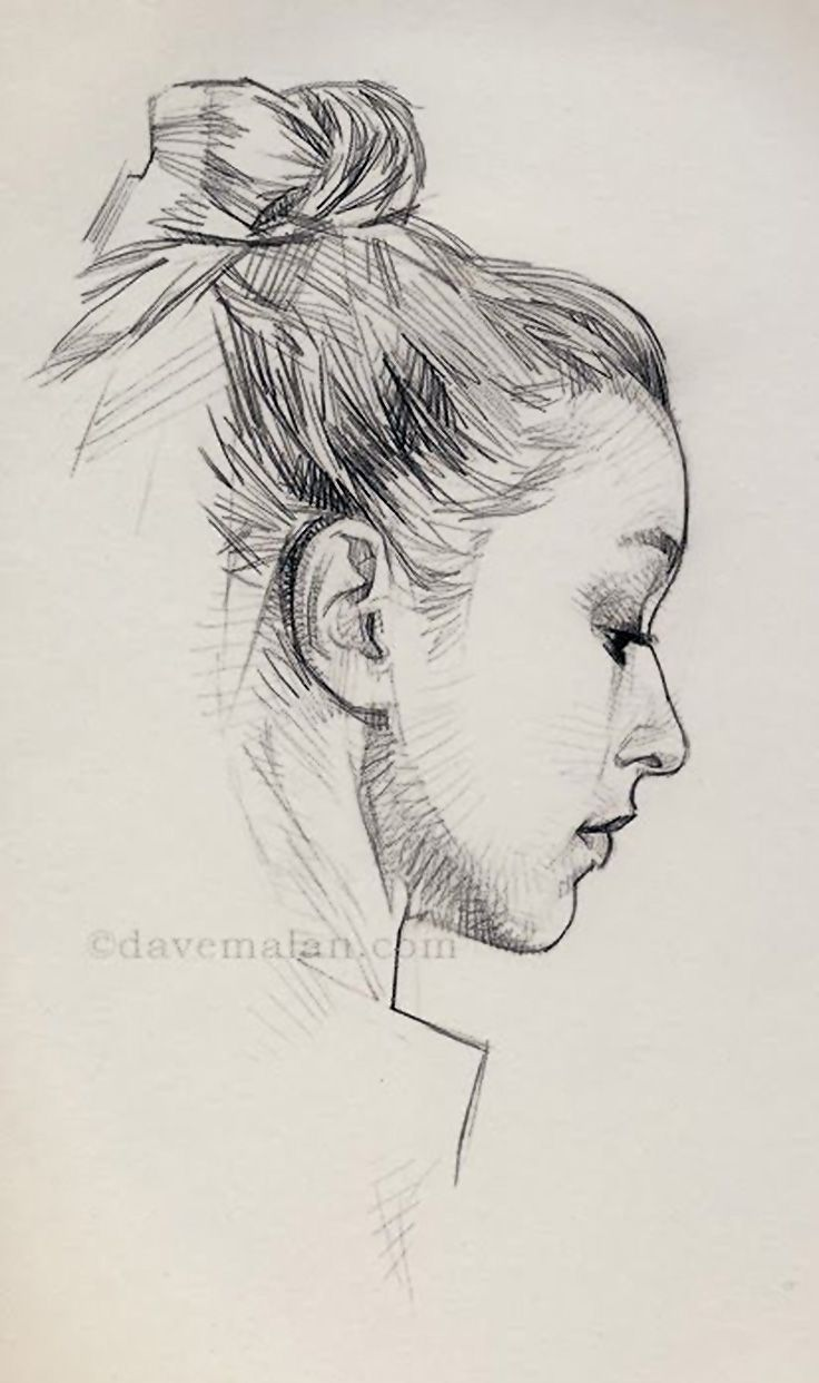 Drawn profile women's profile {contemporary female {contemporary pencil David