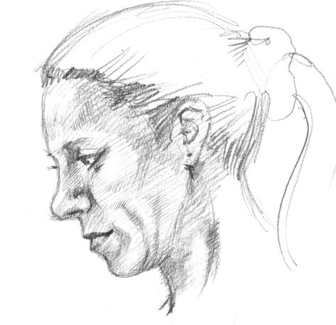 Drawn profile women's profile Few pencil in profile a