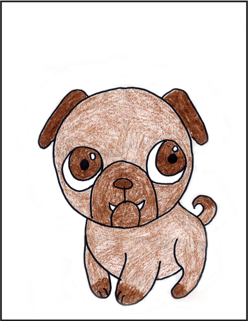 Drawn pug Realistic Pencil Pug Cartoon A