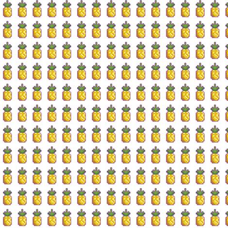 Drawn pug 8 bit Spoonflower tavismaiden 8 Pineapple fabric