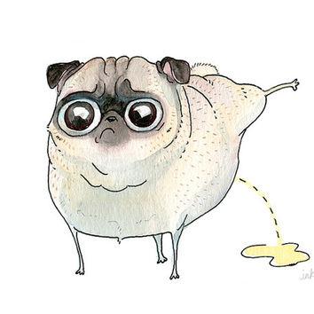 Drawn pug Strange Pilates Pug Drawing Print