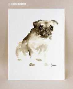 Drawn pug abstract Decor Dog Brown wall Animal