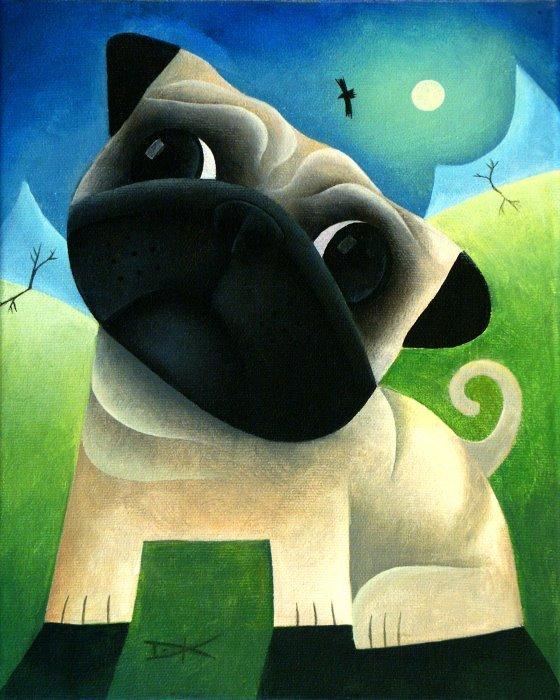 Drawn pug abstract Original abstract acrylic Pug Pug
