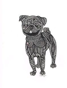 Drawn pug abstract Andrea and Print White Pin
