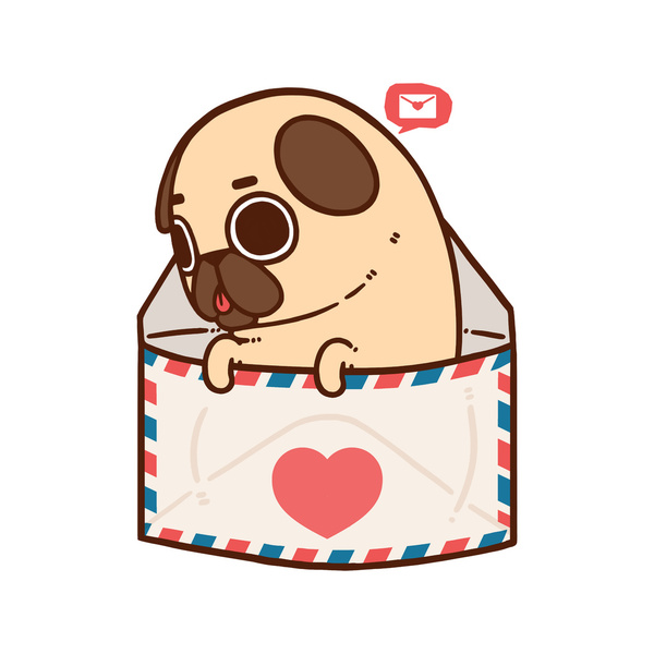 Drawn pug adorable BY  PUG Pinterest BY