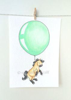 Drawn pug amazing horse Horse Horse Nursery shahar Balloon