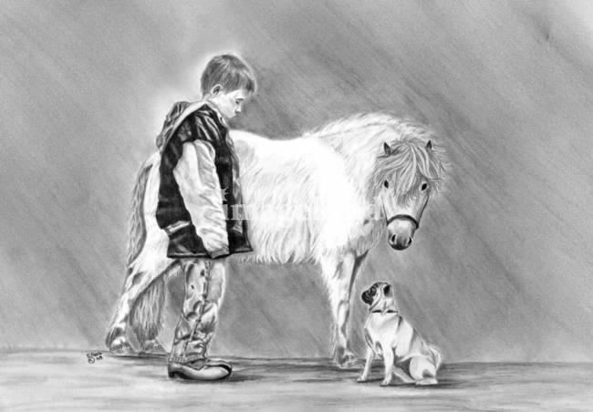 "Drawn pug amazing horse On ""Trio 2008 Miniature Drawings"