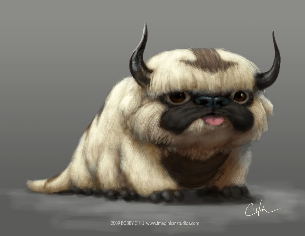 Drawn pug appa  the flying bison flying