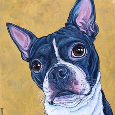 Drawn pug appa Dog in Acrylic Cavalier
