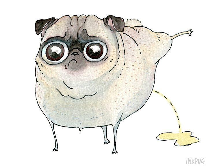 Drawn pug baby pug Pug Peeing Funny Art Drawing