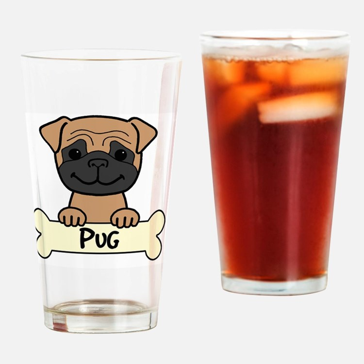Drawn pug beer Drinking Glass Pug Beer Pint