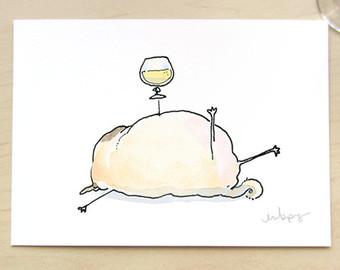 Drawn pug beer Decor print Beer kitchen beer