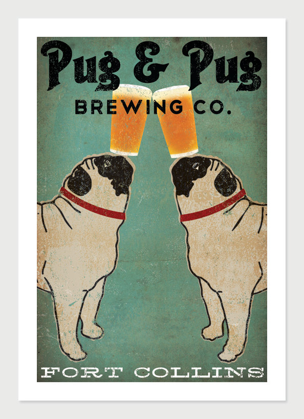 Drawn pug beer FREE & signed Pug Personalization