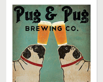 Drawn pug beer Giclee Made & ILLUSTRATION Print