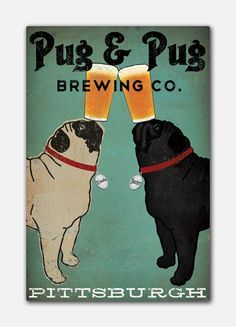 Drawn pug beer 5 & 16x24x1 Canvas Wrapped