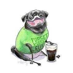 Drawn pug beer Pug a Cute Art Kitchen
