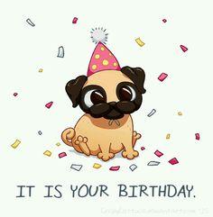 Drawn pug birthday card More pugs Find Pugs♥ Draw