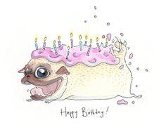 Drawn pug birthday card #inkpug Pug Pugapalooza cartoon card!