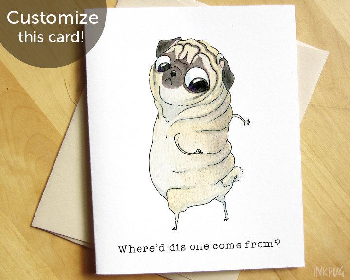Drawn pug birthday card Birthday Like Year Getting Funny